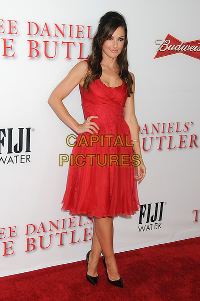 Minka Kelly<br /> &quot;Lee Daniels' The Butler&quot; Los Angeles Premiere held at Regal Cinemas L.A. Live, Los Angeles, California, USA.<br /> August 12th, 2013<br /> full length dress hand on hip red  <br /> CAP/ADM/BP<br /> &copy;Byron Purvis/AdMedia/Capital Pictures