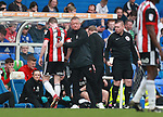 Chris Wilder manager of Sheffield Utd consoles John Lundstram of Sheffield Utd  during the championship match at St Andrews Stadium, Birmingham. Picture date 21st April 2018. Picture credit should read: Simon Bellis/Sportimage