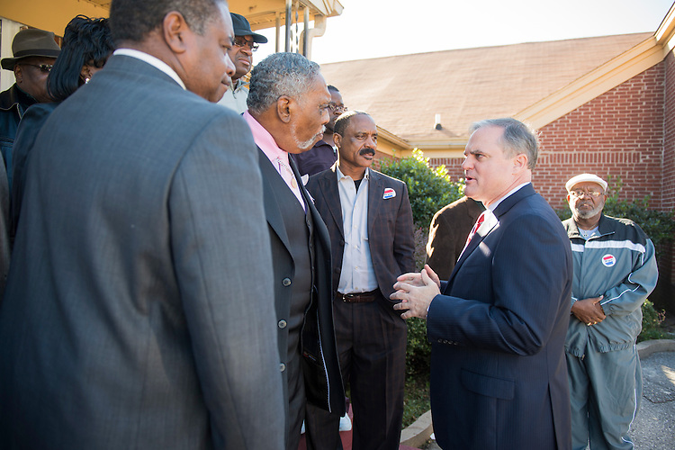 UNITED STATES - NOVEMBER 1: Sen. Mark Pryor, D-Ark., right, speaks with local religious leaders at the Beautiful Zion Church in West Memphis, Ark., on Saturday, Nov. 1, 2014. (Photo By Bill Clark/CQ Roll Call)