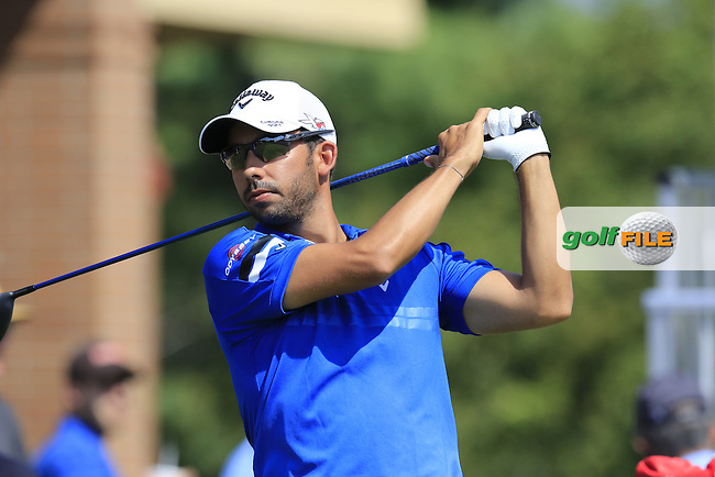 Pablo LARRAZABAL (ESP) on the 1st tee to start his match during Saturday's Round 3 of the 2015 Bridgestone Invitational World Golf Championship held at the Firestone Country Club, Akron, Ohio, United States of America. 8/08/2015.<br /> Picture Eoin Clarke, www.golffile.ie