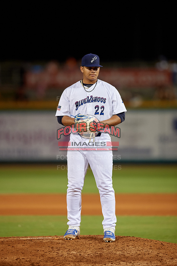 Pensacola Blue Wahoos starting pitcher Brusdar Graterol (22) during a Southern League game against the Biloxi Shuckers on May 3, 2019 at Admiral Fetterman Field in Pensacola, Florida.  Pensacola defeated Biloxi 10-8.  (Mike Janes/Four Seam Images)