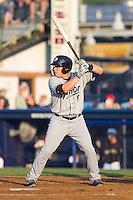 Jake Lowery (6) of the Akron Rubber Ducks at bat against the Reading Fightin Phils at FirstEnergy Stadium on June 19, 2014 in Wappingers Falls, New York.  The Rubber Ducks defeated the Fightin Phils 3-2.  (Brian Westerholt/Four Seam Images)