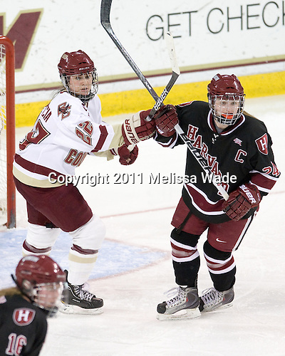 Mary Restuccia (BC - 22), Leanna Coskren (Harvard - 24) - The Boston College Eagles defeated the Harvard University Crimson 3-1 to win the 2011 Beanpot championship on Tuesday, February 15, 2011, at Conte Forum in Chestnut Hill, Massachusetts.