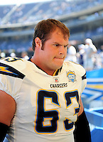 Sep. 20, 2009; San Diego, CA, USA; San Diego Chargers center (63) Scott Mruczkowski against the Baltimore Ravens at Qualcomm Stadium in San Diego. Baltimore defeated San Diego 31-26. Mandatory Credit: Mark J. Rebilas-