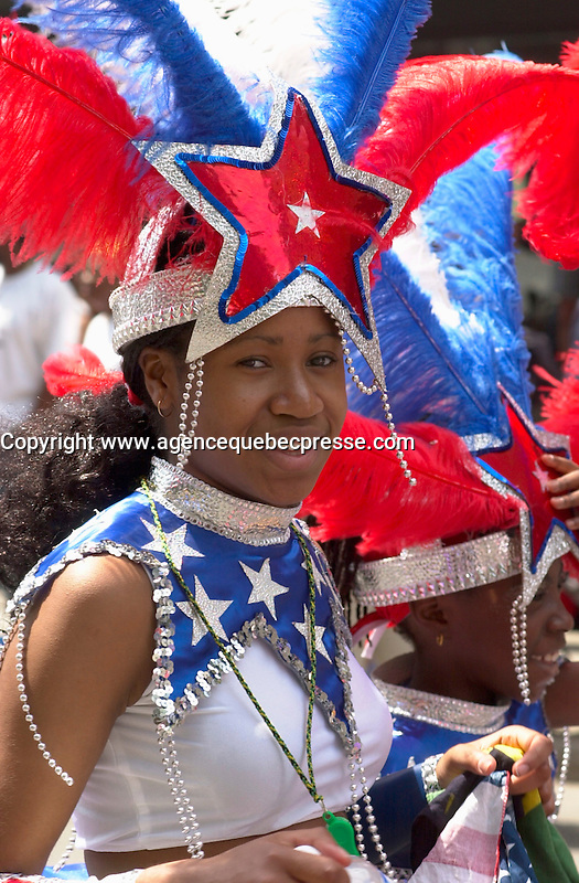 June 4 2002, Montreal, Quebec, Canada<br /> <br /> A teenage girl of Puerto Rican origin take part in the Carifiesta Parade June 6, 2002 in Montreal, Canada.