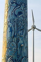 Deutschland DEU, Windpark mit von Kuenstler bemalten Enercon E-66 Windraeder in Luebow bei Wismar / GERMANY windmill enercon with art painting of artist near Wismar