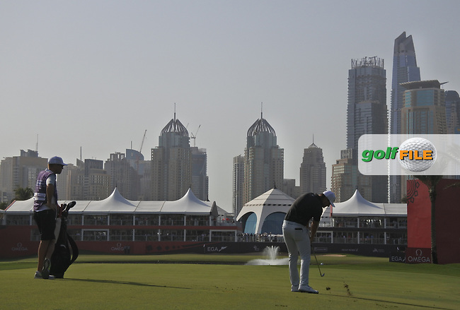 Lucas Bjerregaard (DEN) on the 18th during Round 4 of the Omega Dubai Desert Classic, Emirates Golf Club, Dubai,  United Arab Emirates. 27/01/2019<br /> Picture: Golffile | Thos Caffrey<br /> <br /> <br /> All photo usage must carry mandatory copyright credit (© Golffile | Thos Caffrey)