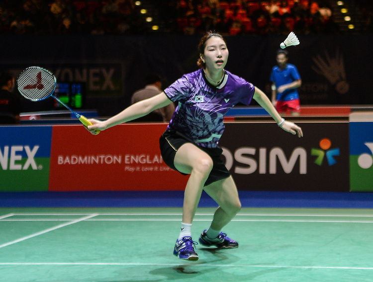 Ji Hyun SUNG [5] [KOR]in action today during her defeat to  Tine BAUN [7] [DEN] in their Woman's singles Semi Final match. Tine BAUN [7] [DEN] bt Ji Hyun SUNG [5] [KOR] 24-22 19-21 21-19..BWF -  2013 Yonex All England Badminton Championships Super Series Premier - The National Indoor Arena - Birmingham - England - Saturday 09th March 2013..© CameraSport - 43 Linden Ave. Countesthorpe. Leicester. England. LE8 5PG - Tel: +44 (0) 116 277 4147 - admin@camerasport.com - www.camerasport.com