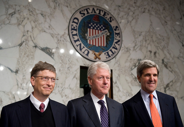 From left, Bill Gates, Co-Chair of the Bill and Melinda Gates Foundation, Former President Bill Clinton, chairman of the William J. Clinton Foundation, and Sen. John Kerry, D-Mass., talk before the start of the Senate Foreign Relations Committee hearing on global health initiatives on Wednesday, March 10, 2010.