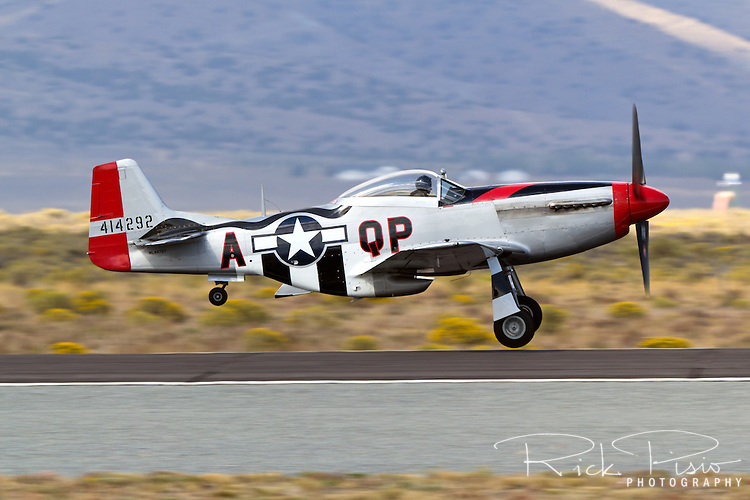 P-51 Mustang Man O War on takeoff at Stead Field in Nevada.