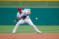 Indianapolis Indians shortstop Erik Gonzalez (37) fields a ground ball during an International League game against the Syracuse Mets on July 17, 2019 at Victory Field in Indianapolis, Indiana.  Syracuse defeated Indianapolis 15-5  (Mike Janes/Four Seam Images)