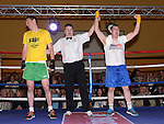 Steven Nugent representing The Blues beat O'Raghallaigh's Mossie Walsh in the White Collar Boxing at the O'Raghalligh's. Photo:Colin Bell/pressphotos.ie
