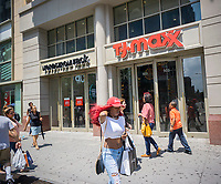 Off-price retailers Nordstrom Rack  and T.J. Maxx share space in a building on Fulton Street in Downtown Brooklyn in New York on Sunday, June 18, 2017. The element of surprise entices consumers to shop at off-price retailers, not knowing what gems they might find, enables this retail segment to avoid the pitfalls of brick-and-mortar stores.  (© Richard B. Levine)