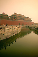Just beyond the Meridian Gate entrance to The Forbidden City in Beijing, the great plaza, is divided by the meandering Inner Golden Water River. Five bridges cross the river. .