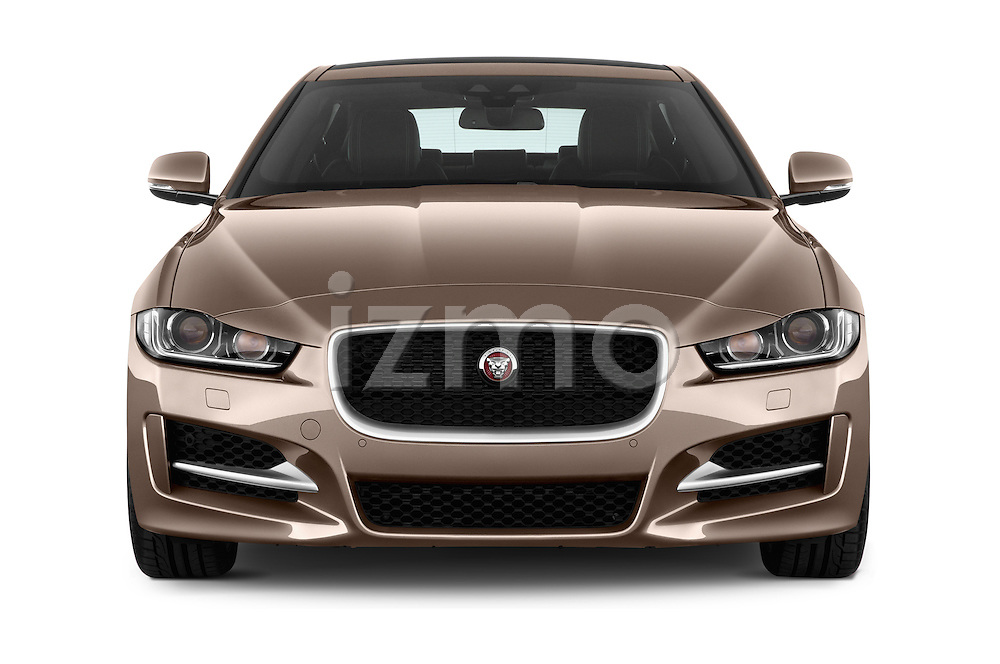 Car photography straight front view of a 2015 Jaguar XE R-Sport 4 Door Sedan Front View