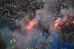 12.05.2018, Volksparkstadion, Hamburg, GER, 1.FBL. Hamburger SV vs Borussia Moenchengladbach,  im Bild   <br /> <br /> Kurz vor End zuendeten in der Nordkurve die Ultras Feuerwerksk&ouml;rper das spiel wurde unterbrochen -Polizei mit Hunden und Pferden sicherten die Spieler<br /> <br /> Foto &copy; nordphoto / Kokenge