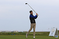 Ross Latimer (Knock) on the 1st tee during Round 1of the Flogas Irish Amateur Open Championship 2019 at the Co.Sligo Golf Club, Rosses Point, Sligo, Ireland. 16/05/19<br /> <br /> Picture: Thos Caffrey / Golffile<br /> <br /> All photos usage must carry mandatory copyright credit (© Golffile | Thos Caffrey)