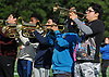 The Roosevelt marching band performs during halftime of a Nassau County Conference III varsity football game against Plainedge at Roosevelt High School on Saturday, Oct. 13, 2018.
