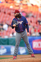 Lehigh Valley IronPigs starting pitcher James Russell (18) looks in for the sign during a game against the Buffalo Bisons on July 9, 2016 at Coca-Cola Field in Buffalo, New York.  Lehigh Valley defeated Buffalo 9-1 in a rain shortened game.  (Mike Janes/Four Seam Images)