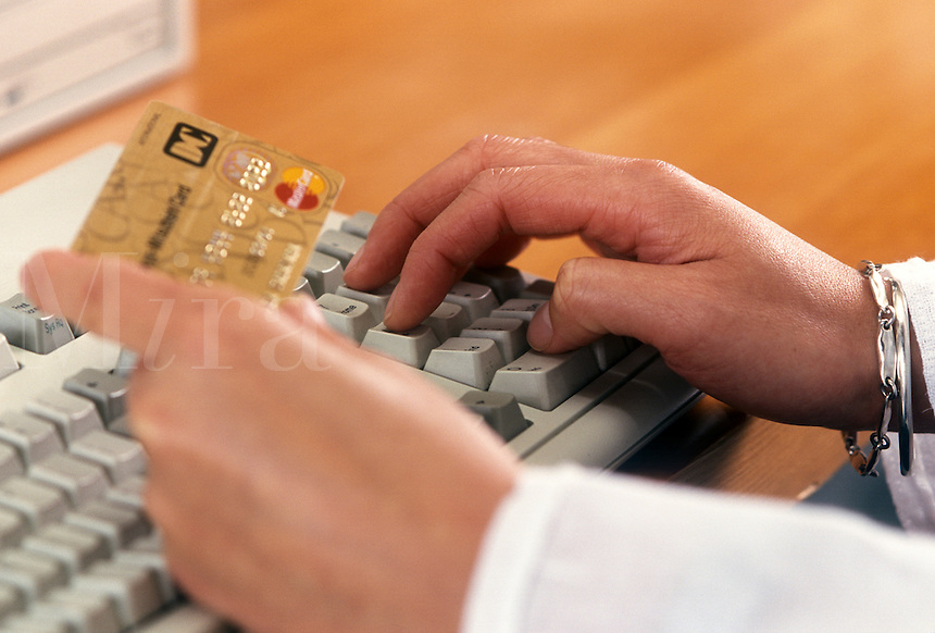 Credit card transaction on the internet.