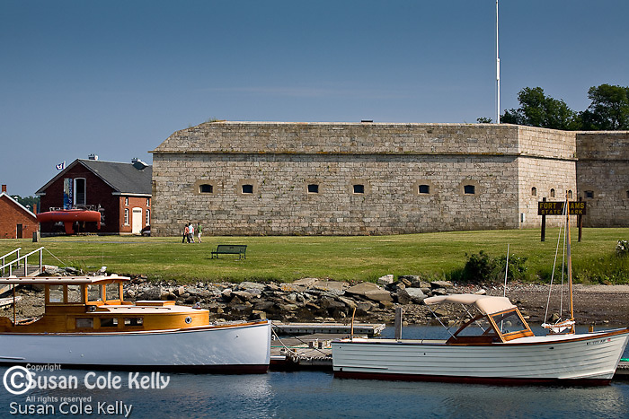 Antique wooden boats at Fort Adams, Newport, RI, USA