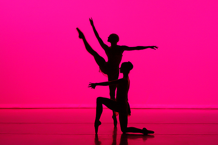 Dancers perform in silhouette for Nevada Ballet Theatre at the Artemus W. Ham Hall on the campus of UNLV.