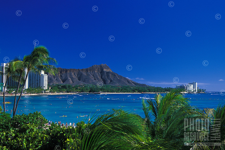 Waikiki beach with Diamond Head and palms