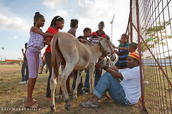 "Children petting the winning donkey, 'Faithful Ransom"" Donkey Derby, Arima 2010"