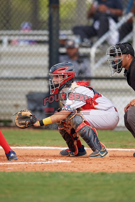 Julian Hernandez (10) during the Dominican Prospect League Elite Florida Event at Pompano Beach Baseball Park on October 15, 2019 in Pompano beach, Florida.  (Mike Janes/Four Seam Images)