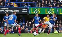 Jerell Sellars (Loanee from Aston Villa) of Wycombe Wanderers hits a shot at goal during the Sky Bet League 2 match between Portsmouth and Wycombe Wanderers at Fratton Park, Portsmouth, England on 23 April 2016. Photo by Andy Rowland.