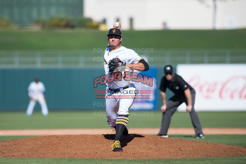 Surprise Saguaros relief pitcher Geoff Hartlieb (70), of the Pittsburgh Pirates organization, delivers a pitch during an Arizona Fall League game against the Salt River Rafters on October 9, 2018 at Surprise Stadium in Surprise, Arizona. Salt River defeated Surprise 10-8. (Zachary Lucy/Four Seam Images)