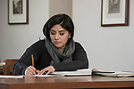 Marisol Villasenor studies in the reading room of Special Collections and Archives in the John T. Richardson Library on the Lincoln Park Campus. (DePaul University/Jeff Carrion)
