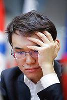 29th December 2019, Moscow, Russia;  Yu Yangyi of China competes with Ian Nepomniachtchi of Russia in the final round of the 2019 King Salman World Chess Rapid Open Championship in Moscow, Russia