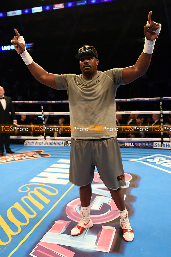 Dereck Chisora (grey shorts) defeats Jakov Gospic at the O2 Arena, London