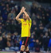 9th December 2017, Turf Moor, Burnley, England; EPL Premier League football, Burnley versus Watford; Tom Cleverley of Watford applauds the fans at the end of the game
