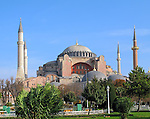 The mosque of Hagia Sophia in Istanbul, Turkey.  Built between 532-537 AD.