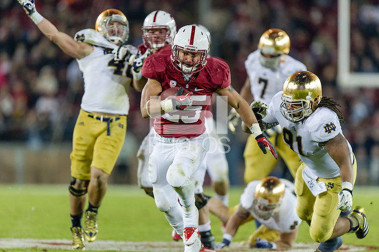 STANFORD, CA - NOVEMBER 30, 2013:  Tyler Gaffney during Stanford's game against Notre Dame. The Cardinal defeated the Fighting Irish 27-20.
