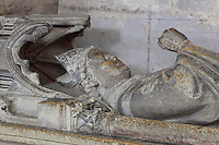 Funerary monument of Jean-Baptiste-Marie-Simon Jacquenet, 1816-92, bishop of Amiens, in the Chapelle Notre-Dame-de-Pitie at the Basilique Cathedrale Notre-Dame d'Amiens or Cathedral Basilica of Our Lady of Amiens, built 1220-70 in Gothic style, Amiens, Picardy, France. Amiens Cathedral was listed as a UNESCO World Heritage Site in 1981. Picture by Manuel Cohen
