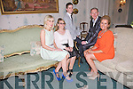 RELAXING: Relaxing at the 10th Annual Enable Ireland Ladies Luncheon held in Ballyseedy Castle on Friday from l-r are: Heidi Higgins (Fashion Designer), Jacqui Mills (Fendi Sunglasses), Mark T Burke (Milliner), Michael Mulcahy (RSVP) and Geraldine Parker, Kilflynn.