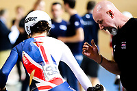 Picture by Alex Whitehead/SWpix.com - 02/03/2018 - Cycling - 2018 UCI Track Cycling World Championships, Day 3 - Omnisport, Apeldoorn, Netherlands - Great Britain's Elinor Barker crashes in the Elimination round of the Women's Omnium.