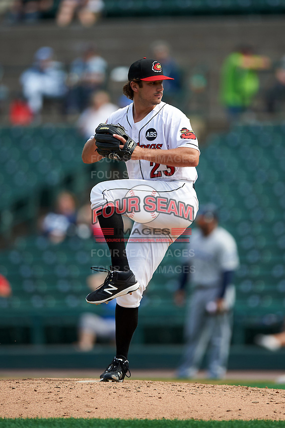 Rochester Red Wings relief pitcher J.T. Chargois (23) delivers a pitch during a game against the Columbus Clippers on June 16, 2016 at Frontier Field in Rochester, New York.  Rochester defeated Columbus 6-2.  (Mike Janes/Four Seam Images)