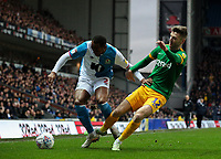 Blackburn Rovers' Ryan Nyambe gets the better of Preston North End's Paul Gallagher<br /> <br /> Photographer Alex Dodd/CameraSport<br /> <br /> The EFL Sky Bet Championship - Blackburn Rovers v Preston North End - Saturday 11th January 2020 - Ewood Park - Blackburn<br /> <br /> World Copyright © 2020 CameraSport. All rights reserved. 43 Linden Ave. Countesthorpe. Leicester. England. LE8 5PG - Tel: +44 (0) 116 277 4147 - admin@camerasport.com - www.camerasport.com