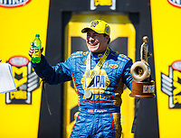 May 21, 2017; Topeka, KS, USA; NHRA funny car driver Ron Capps celebrates after winning his fourth straight victory following the Heartland Nationals at Heartland Park Topeka. Mandatory Credit: Mark J. Rebilas-USA TODAY Sports