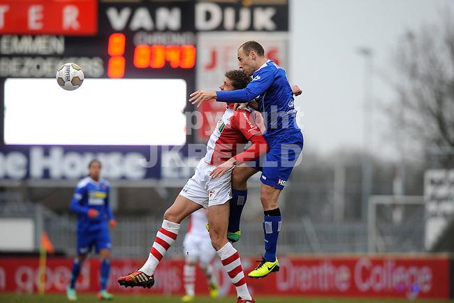 EMMEN - Voetbal, FC Emmen - FC Volendam, Jens Vesting, seizoen 2013-2014, 01-03-2014,   FC Emmen speler Roland Bergkamp met FC Volendam speler Gijs Luirink