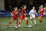 SALEM, VA - DECEMBER 3:Megan Nicklay (19) looks to pass during theDivision III Women's Soccer Championship held at Kerr Stadium on December 3, 2016 in Salem, Virginia. Washington St Louis defeated Messiah 5-4 in PKs for the national title. (Photo by Kelsey Grant/NCAA Photos)