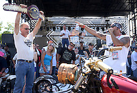 NWA Democrat-Gazette/BEN GOFF @NWABENGOFF<br /> Fans vote for their favorite custom bikes on Saturday Sept. 26, 2015 during the Stokes Air Battle of the Bikes at the annual Bikes, Blues & BBQ motorcycle rally in downtown Fayetteville.