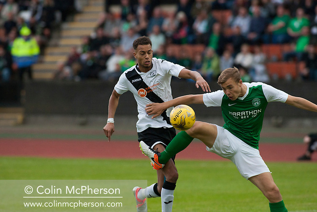 Action from the second-half as hosts Edinburgh City take on Scottish Cup winners Hibernian a pre-season friendly at Meadowbank Stadium. The match was City's first at the Commonwealth Stadium since they gained promotion from the Lowland League to the Scottish League in May 2016. A record crowd for a City match of 2500 spectators saw the visitors run out 6-1 winners.