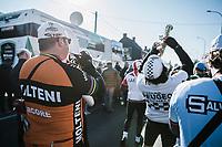 'De Coureurs' brassband at the race start<br /> <br /> 70th Kuurne-Brussel-Kuurne 2018 (1.HC)