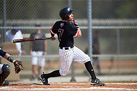 Edgewood College Eagles Peter Perales (7) at bat during the second game of a doubleheader against Western Connecticut Colonials on March 13, 2017 at the Lee County Player Development Complex in Fort Myers, Florida.  Edgewood defeated Western Connecticut 2-1.  (Mike Janes/Four Seam Images)