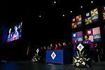 Micah Reeves sings the national anthem at the DePaul University College of Law commencement ceremony, Sunday, May 14, 2017, at the Rosemont Theatre in Rosemont, IL, where some 240 students received their Juris Doctors or Master of Laws degrees. (DePaul University/Jeff Carrion)